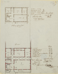 [Drawn plan of two houses east side of St James' Square, with estimated value]